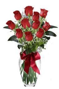11 adet kirmizi gül vazo mika vazo içinde  Şırnak çiçek online çiçek siparişi