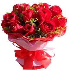 9 adet kirmizi güllerden kipkirmizi buket  Şırnak online çiçek gönderme sipariş