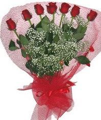 7 adet kipkirmizi gülden görsel buket  Şırnak yurtiçi ve yurtdışı çiçek siparişi
