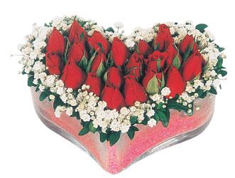 Şırnak ucuz çiçek gönder  mika kalpte kirmizi güller 9
