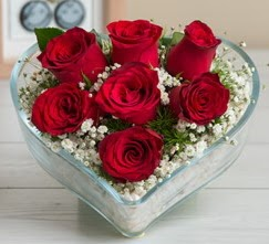 Kalp içerisinde 7 adet kırmızı gül  Şırnak çiçekçi telefonları