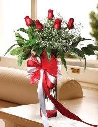 Camda 5 kırmızı gül tanzimi  Şırnak ucuz çiçek gönder