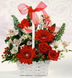 Karışık rengarenk mevsim çiçek sepeti  Şırnak cicek , cicekci