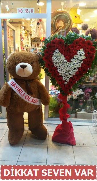 1.5 Metre peluş ayı ve Kalp  Şırnak çiçekçi telefonları