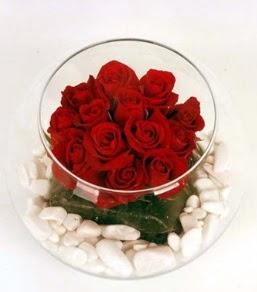 Cam fanusta 11 adet kırmızı gül  Şırnak çiçek , çiçekçi , çiçekçilik