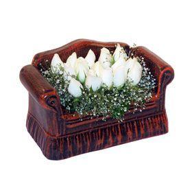 seramik içerisinde 11 gül  Şırnak internetten çiçek satışı