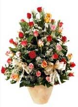 91 adet renkli gül aranjman   Şırnak çiçekçi telefonları