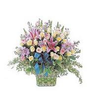 sepette kazablanka ve güller   Şırnak çiçek , çiçekçi , çiçekçilik