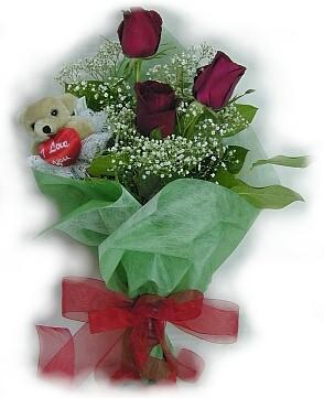 3 adet gül ve küçük ayicik buketi  Şırnak 14 şubat sevgililer günü çiçek