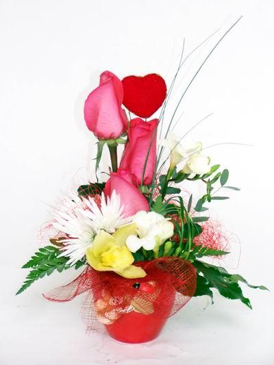 Şırnak çiçek siparişi sitesi  cam içerisinde 3 adet gül ve kir çiçekleri