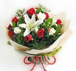 güller ve kazablanklardan görsel bir buket  Şırnak çiçek siparişi vermek