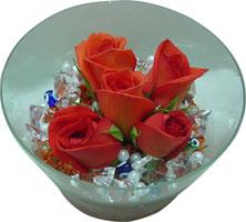 Şırnak çiçek online çiçek siparişi  5 adet gül ve cam tanzimde çiçekler
