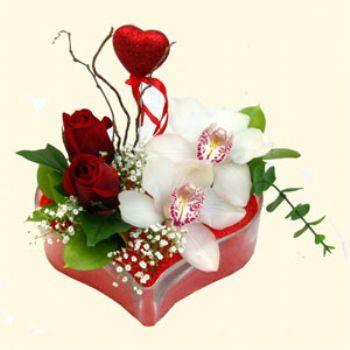 Şırnak çiçek mağazası , çiçekçi adresleri  1 kandil orkide 5 adet kirmizi gül mika kalp