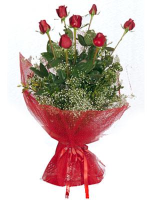 Şırnak güvenli kaliteli hızlı çiçek  7 adet gülden buket görsel sik sadelik
