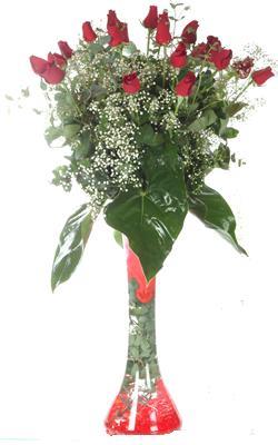 Şırnak hediye sevgilime hediye çiçek  19 ADET GÜL VE FIL CAM AYAGI