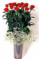 Şırnak 14 şubat sevgililer günü çiçek  9 adet kirmizi gül cam yada mika vazoda