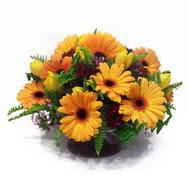 gerbera ve kir çiçek masa aranjmani  Şırnak cicekciler , cicek siparisi