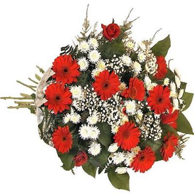 gerbera ve karisik kir çiçekleri buketi