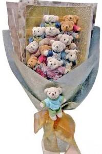 12 adet ayiciktan buket tanzimi  Şırnak 14 şubat sevgililer günü çiçek