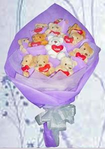 12 adet ayiciktan buket tanzimi  Şırnak çiçek yolla , çiçek gönder , çiçekçi
