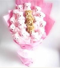 17 adet pelus ayicik buketi  Şırnak çiçek gönderme