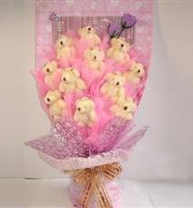 11 adet pelus ayicik buketi  Şırnak çiçek satışı