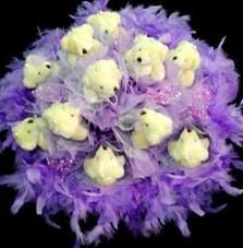 11 adet pelus ayicik buketi  Şırnak çiçekçi mağazası