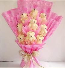 9 adet pelus ayicik buketi  Şırnak çiçek servisi , çiçekçi adresleri
