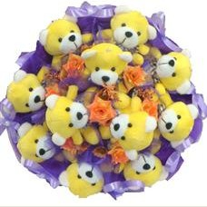 11 adet pelus ayicik buketi  Şırnak yurtiçi ve yurtdışı çiçek siparişi