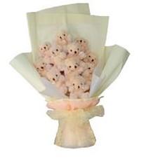 11 adet pelus ayicik buketi  Şırnak çiçek siparişi sitesi