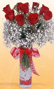 9 adet kirmizi gül cam yada mika vazoda  Şırnak yurtiçi ve yurtdışı çiçek siparişi