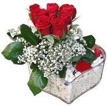 Şırnak çiçek yolla , çiçek gönder , çiçekçi   kalp mika içerisinde 7 adet kirmizi gül