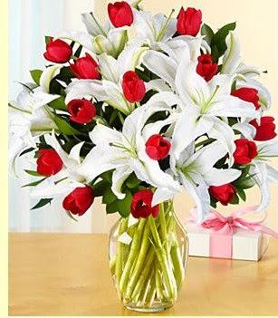 Şırnak internetten çiçek siparişi  3 kazablanka 10 kırmızı gül vazosu