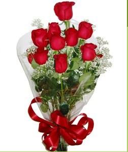 Şırnak hediye sevgilime hediye çiçek  10 adet kırmızı gülden görsel buket