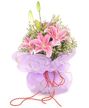 3 dal kazablanka görsel buketi  Şırnak çiçek siparişi vermek