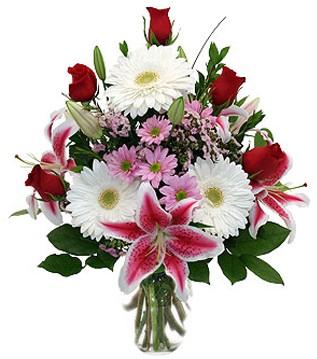 Şırnak yurtiçi ve yurtdışı çiçek siparişi  1 dal kazablanka 5 gül ve kırçiçeği vazosu
