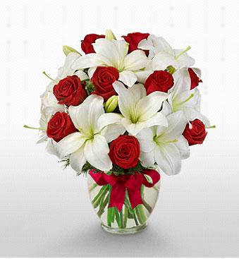 Şırnak internetten çiçek satışı  1 dal kazablanka 11 adet kırmızı gül vazosu
