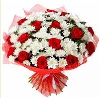 11 adet kırmızı gül ve beyaz kır çiçeği  Şırnak çiçek siparişi vermek