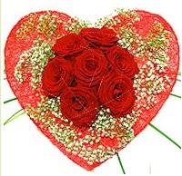 Mika kalp içerisinde 7 adet kırmızı gül  Şırnak çiçekçiler
