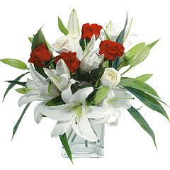 vazo içerisinde 4 gül 1 adet kazablanka  Şırnak uluslararası çiçek gönderme