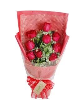 9 adet kırmızı gülden görsel buket  Şırnak çiçek siparişi sitesi