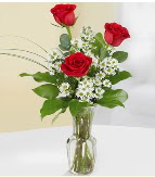 Vazo içerisinde 3 adet kırmızı gül  Şırnak hediye çiçek yolla