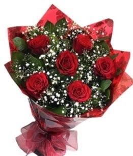 6 adet kırmızı gülden buket  Şırnak İnternetten çiçek siparişi
