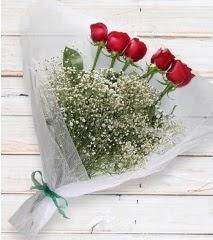 5 kırmızı gülden sade buket  Şırnak çiçek satışı