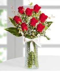 7 Adet vazoda kırmızı gül sevgiliye özel  Şırnak internetten çiçek siparişi