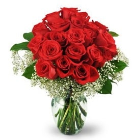 25 adet kırmızı gül cam vazoda  Şırnak çiçekçi mağazası