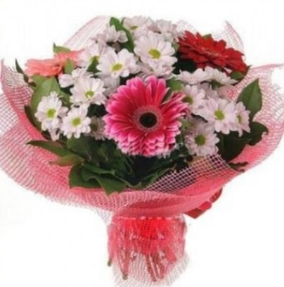 Gerbera ve kır çiçekleri buketi  Şırnak cicek , cicekci