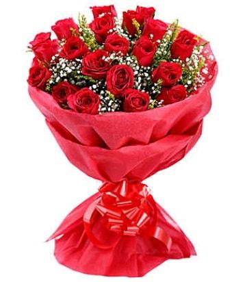 21 adet kırmızı gülden modern buket  Şırnak çiçek , çiçekçi , çiçekçilik