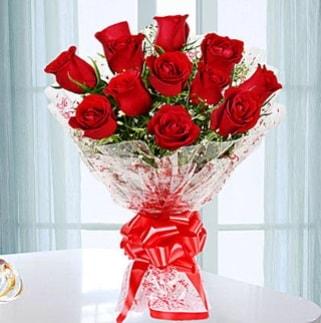 11 adet kırmızı gülden görsel şık buket  Şırnak çiçek siparişi sitesi