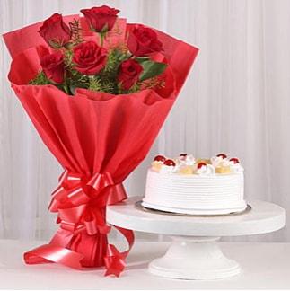 6 Kırmızı gül ve 4 kişilik yaş pasta  Şırnak çiçekçi mağazası